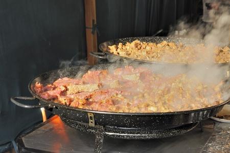 meat cooking at medieval market, esslingen photo