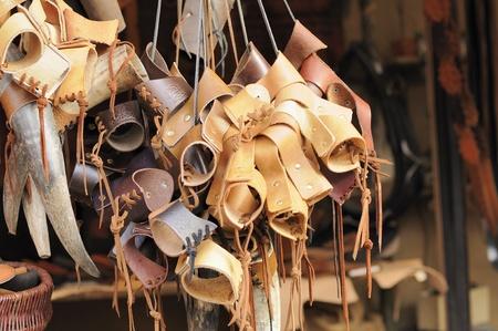 leather stall at medieval market, esslingen
