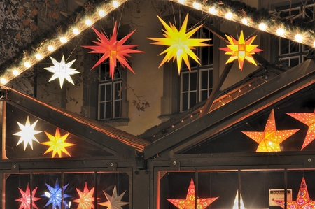 star lights at christmas market, stuttgart photo