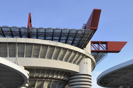 Milan (Italy) 2011, 17,12 detail of architectonic frame of soccer stadium in city, home of milan a.c. and internazionale f.c.