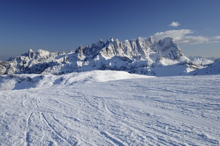 bright snow and Pale range, dolomites photo