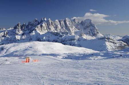 ski-run junction and Pale range, dolomites Stock Photo - 12841718