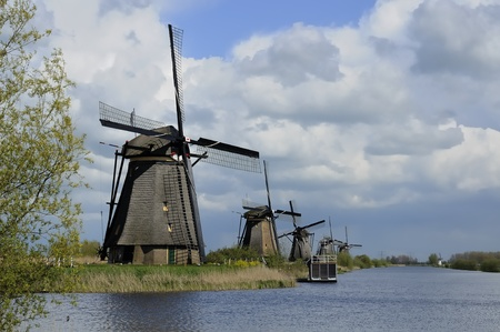 location shot: windmills row at kinderdijk, netherlands        row of windmills at world famous touristic location, shot under a stormy bright spring sky