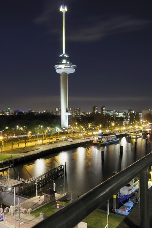 bird 's eye view: tower and nightscape, rotterdam Editorial
