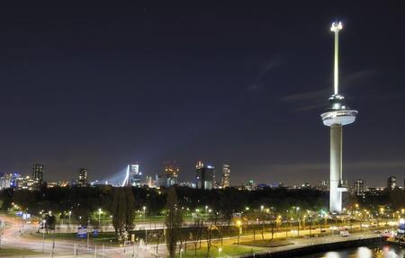 nightscape and tower, rotterdam