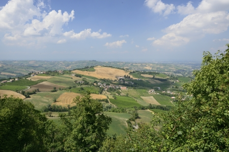 Val Tidone summer landscape            landscape with aerial view of the mild Apennine valley, shot in bright summer light Stock Photo