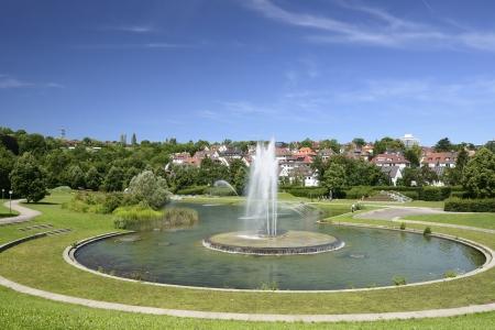 stuttgart: round fountain at urban park Stuttgart, Germany Stock Photo