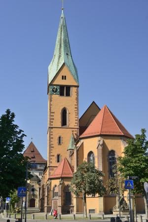 st Lehonard church, Stuttgart, foreshorthening of the apse side of the important church in city center, shot in bright summer light Stock Photo