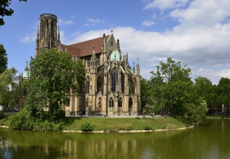 Feuersee and Johannes church , Stuttgart, Germany