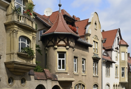 old houses, Stuttgart                        foreshortening of old houses with bow windows and pictureque details