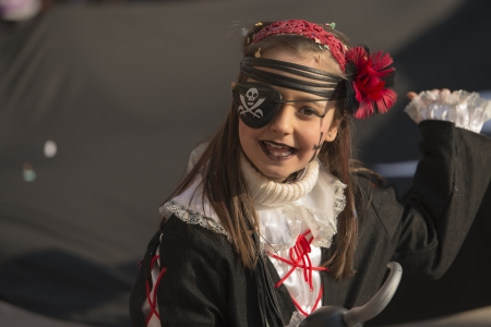 pirate girl in parade,  MILAN, ITALY - FEBRUARY 16: a dressed up girl in pirate costume. Shot at Kid