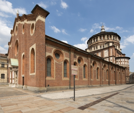santa maria delle grazie side and dome, Milano; foreshortening of side and dome of famous church in city center, shot in bright light Stock Photo