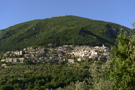 rieti: Poggio Bustone view, Rieti valley; general view of one of the historic hilly villages in the  holy valley , so called since san Francesco lived there