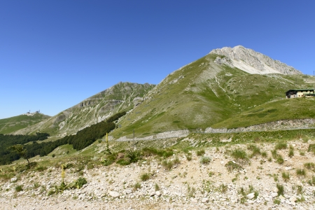 rieti: Terminillo south face, Rieti; summer view of the suthern cliffs of high mountain near the town, shot in bright summer light