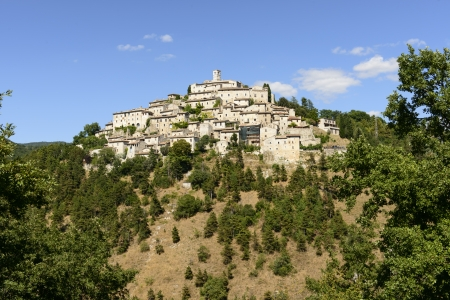 Labro view from south, Rieti; general view of one of the historic villages in the  holy valley , so called since san Francesco lived there  Stock Photo