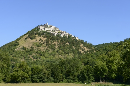 rieti: Labro view from west, Rieti; scenic view from the valley underneath  of one of the historic villages in the  holy valley , so called since san Francesco lived there  Stock Photo