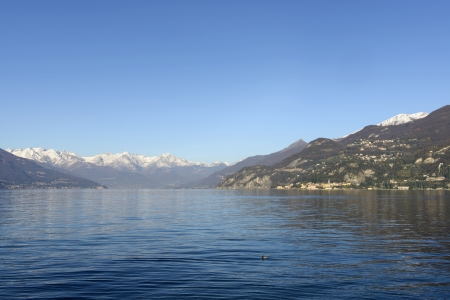 looking north from Bellagio, Como lake, landscape of northern part of Como lake photo