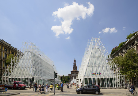 MILAN, ITALY -MAY 30  view of the building site of EXPO 2015  tourist information center  near Castello Sforzesco, almost finished, in background the Castle tower, shot  on may 30 2014,  Milan, Italy