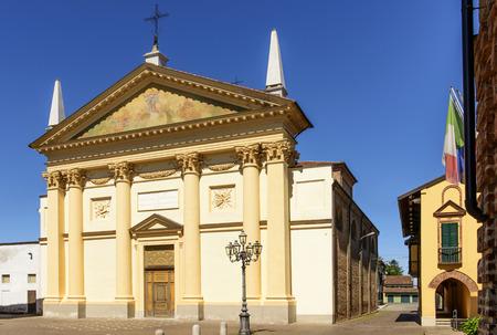 neoclassic: Parish church, Frassineto Po, Piedmont  Italy  view of the Neoclassic church of the village near the Po river