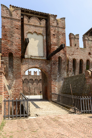 sforzesco: drawbridge entrance to main courtyard, Soncino Castle, view of the drawbridge that gives way to the northern inner court in the ancient Sforzesco Castle, shot in bright summer  light