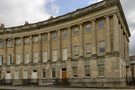 foreshortening: buildings at the Royal crescent, Bath, foreshortening of curved Georgian classic residential buildings in city center