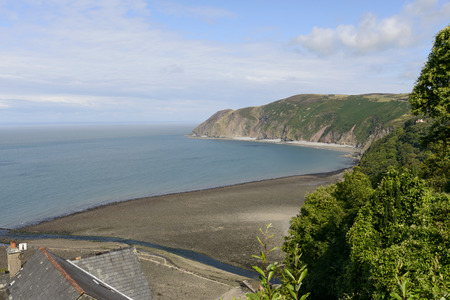 lynmouth: Lynmouth bay from Lynton , Devon, aerial view of the bay in front of historic touristic village of  Devon