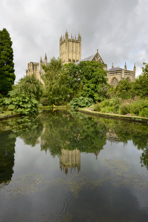 water s edge: Cathedral reflecting in wells at Bishop Palace garden, Wells, view of cathedral reflecting in pond at garden of the ancient palace, shot in bright light under a cloudy sky
