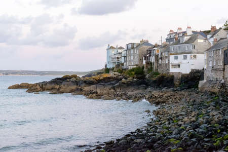 sea side houses at st. Ives, Cornwall, foreshortening of ancient village on the north coast of Cornwall with old houses on the shore