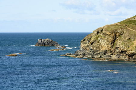 cornwall: Man oWar rocks at Lizard point, Cornwall, landscape of coastline with cliffs and rocks of touristic location in Cornwall