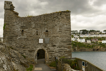 dungeons: detail of the fortification on the Fowey fiord in the small village in Cornwall