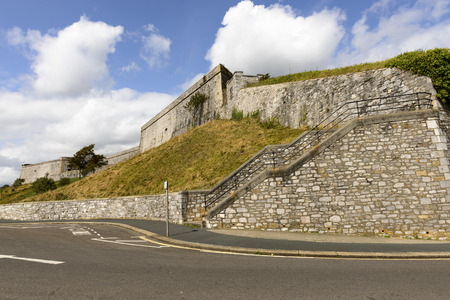 enclose: Royal Citadel, Plymouth, view of the fortifications that enclose the area of the castle in historic sea town of Devon Editorial