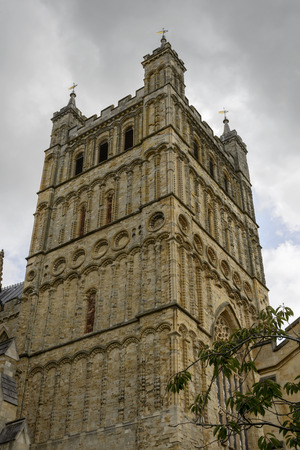 St. Peter Cathedral's bell tower, Exeter, view of huge bell-tower of ancient stone church in the historic town of Devon Stock Photo