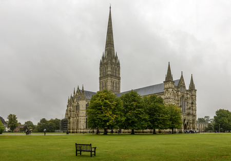 minster: Minster and its green , Salisbury, view of the famous Gothic church and of the large green area that it