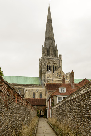west sussex: narrow lane and Cathedral , Chichester, foreshortening of famous medieval church from a narrow lane near it, Chichester, West Sussex