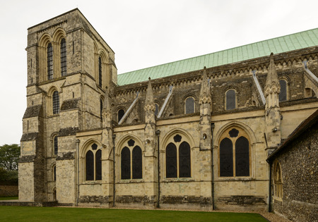 west sussex: Cathedral arched windows, Chichester, detail of arched windows at famous medieval church in historic town, Chichester, West Sussex Stock Photo