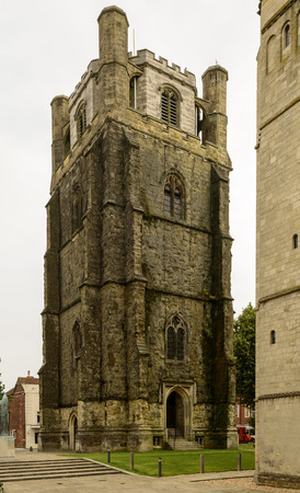 lone tower at Cathedral, Chichester, view of separated tower at famous medieval church in historic town, Chichester, West Sussex Stock Photo