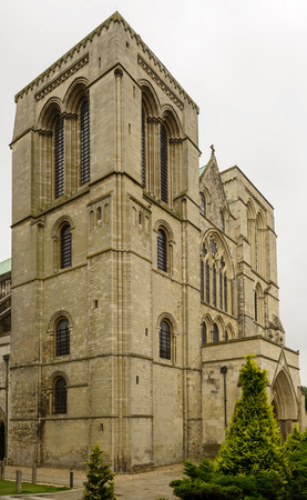 west sussex: massive facade of Cathedral, Chichester, view of massive facade of famous medieval church in historic town, Chichester, West Sussex