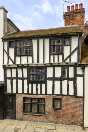 wattle: view of old wattle house on a street in the historic village of Hastings, East Sussex Stock Photo