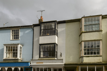 bow window: view of old bow windows on ancient houses in the historic village of Rye, East Sussex