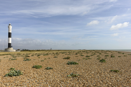romney: view of the light house on the shingle beach at  Dungedness,  Romney Marsh, Kent