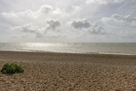 shingle beach: view of the sea and the shingle beach at Dungedness,  Romney Marsh, Kent Stock Photo