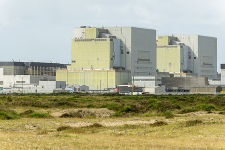 romney: detail of the buildings of nuclear plant on the seaside at Dungedness,  Romney Marsh, Kent
