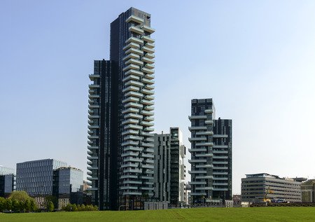 prospecting: MILAN, ITALY - APRIL 11: view of the tall buildings at prospecting business hub on the wheat field prepared for EXPO 2015 in city center, shot on april 11, 2015 Milan, Italy
