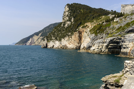 quarries: Byron quarries and coastline landscape of coastline eastward and entrance of Lord Byron quarries shot from St.Peter church on a sunny spring day Portovenere Italy Stock Photo