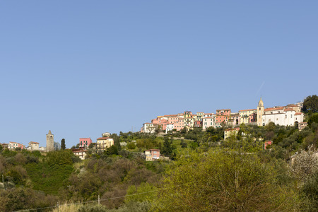view of the higher part of historical village on hill top in inland Liguria Vezzano Ligure Italy