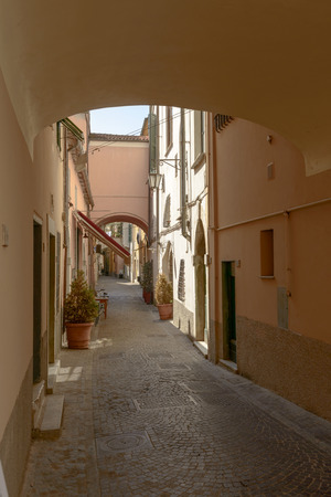 vaulted: Vaulted lane narrow view of narrow street in town center of little inland town with old houses and vaulted passages Sarzana Italy