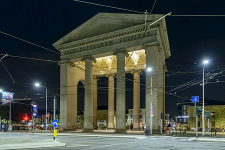 ticinese: MILAN, ITALY - July 25: night life in the city center at EXPO time, night view of Porta Ticinese door and its square, shot on jul 25 2015 Milan, Italy