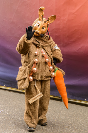 dressed up: STUTTGART, GERMANY - FEBRUARY 09: mask dressed up as rabbit holding a big carrot and waving in the parade under light rain. Shot at Carnival parade in the city center on February 9, 2016 Stuttgart, Germany