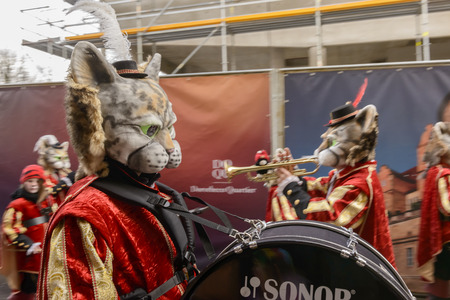 dressed up: STUTTGART, GERMANY - FEBRUARY 09: drummer player in a marching band with players dressed up as cats on parade in wet weather. Shot at Carnival parade in the city center on February 9, 2016 Stuttgart, Germany