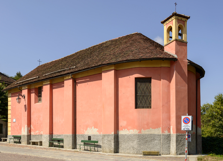 side view of ancient small church of San Rocco in Sasello village, inland Ligure, Italy Stock Photo